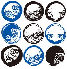 丸筆 波ロゴ