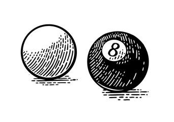 White and eight billiard balls. Vintage black engraving