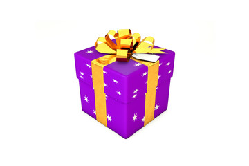 3d illustration: Purple - violet gift box with star, golden metal ribbon / bow and tag on a white background isolated.