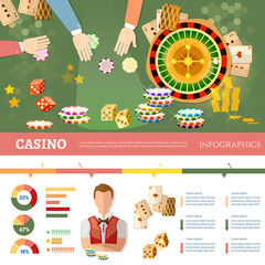 Casino infographics people play casino roulette playing cards baccarat table casino games vector illustration