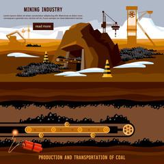 Process of coal mining, bulldozers, conveyor cartoon. Excavator working on open pit coal mine banner