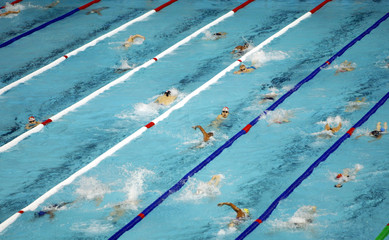 SWIMMERS TRAIN IN BARCELONA AT THE 10TH WORLD SWIMMING CHAMPIONSHIPS.