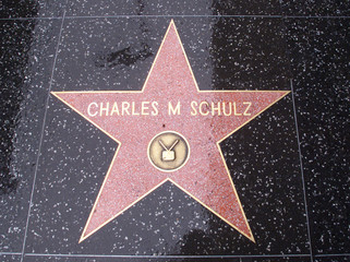 """The Hollywood Walk of Fame star of cartoonist Charles M. Schulz, creator of the comic strip """"Peanuts.."""