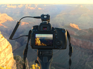 Photo camera in use at Grand Canyon