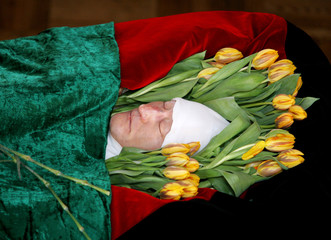 Altynbek Sarsenbaiuly, a prominent Kazakh opposition politician, lies in state in Almaty