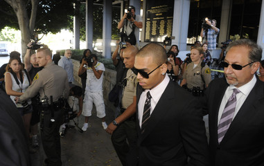 Chris Brown leaves his sentencing hearing in Los Angeles