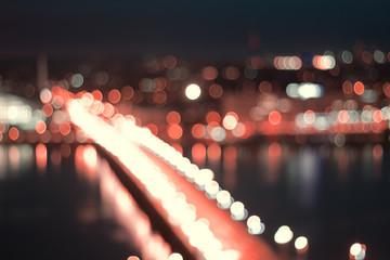 night city life bokeh background