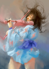 woman painting violin
