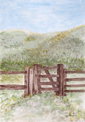 Rustic country bar gate.Painting image.