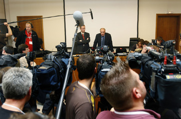 General Prosecutor Nachbar, in the trial of self-confessed French serial killer Fourniret, addresses a news conference at Charleville-Mezieres courthouse