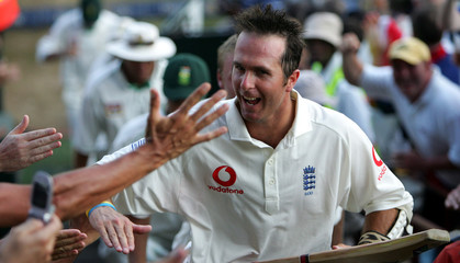 England's captain Michael Vaughan walks through crowds of fans after drawing the fifth test ...