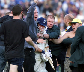 ENGLAND BATSMAN DARREN GOUGH CELEBRATES BEATING THE WEST INDIES IN THE SECOND TEST.