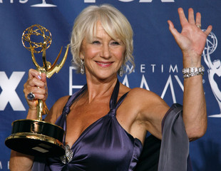 Helen Mirren poses with her award for outstanding lead actress in a miniseries or a movie in Los Angeles