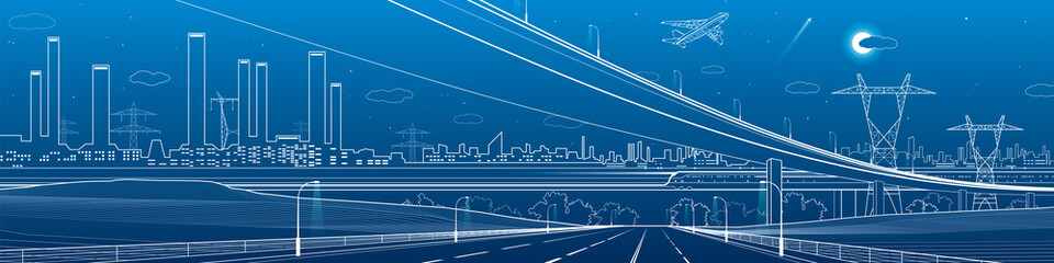 Infrastructure panorama. Large empty highway. Big overpass. Airplane fly. Industrial landscape on background. Pipes and plants, power lines, urban scene, vector design art