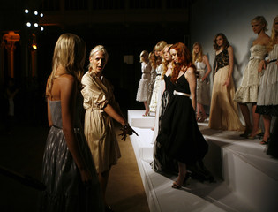 Models present creations from the Bill Blass Spring 2008 collection during New York Fashion Week