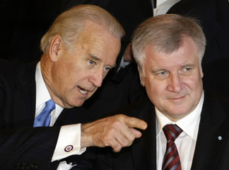 Seehofer, chairman of Germany's CSU, welcomes U.S. Vice President Biden for dinner in Munich