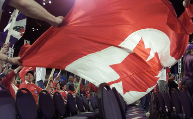 TOM LONG SUPPORTERS UNVEIL FLAG AT ALLIANCE CONVENTION.
