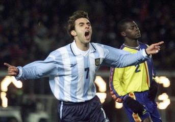 LOPEZ OF ARGENTINA CELEBRATES GOAL AGAINST ECUADOR.