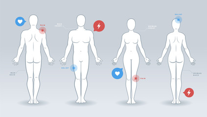 Man and woman vector silhouettes, front and back view, with medical infographics elements