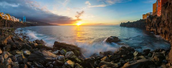 Sunset over the Atlantic coast of Tenerife, Puerto de la Cruz, Punta Brava
