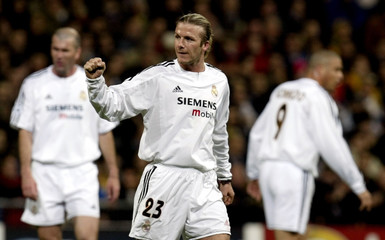 REAL MADRID'S BECKHAM CELEBRATES DURING CHAMPIONS LEAGUE QUARTERFINAL FIRST LEG MATCH WITH MONACO IN ...