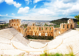Poster de jardin Athenes Herodes Atticus amphitheater of Acropolis, Athens, Greecer, retro toned