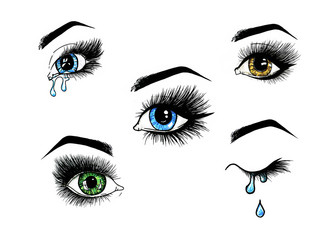 Beautiful open female eyes set with long eyelashes is isolated on a white background. Makeup template illustration. Color sketch felt-tip pens. Handwork. Fast schematic drawing