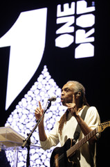Brazilian musical icon Gilberto Gil sings during Moving Stars and Earth for Water live event in Rio de Janeiro