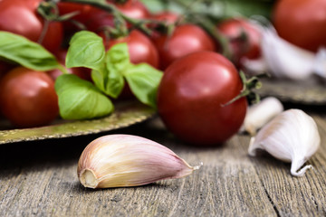 Garlic cloves,, tomatoes, vegetable