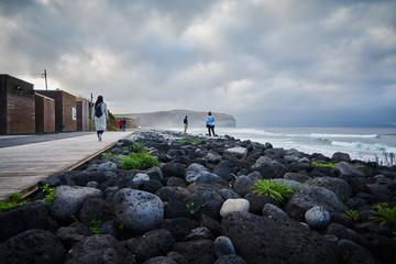main beach at the Azores Island Sao Miguel