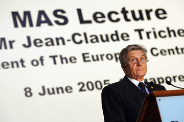 President of European Central Bank Trichet speaks during lecture in Singapore.