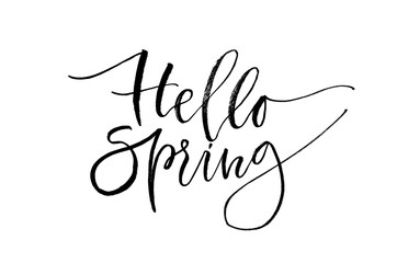 Hello spring. Inspirational quote. Handwritten text. Modern calligraphy.