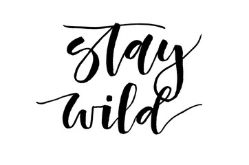 Stay wild. Inspirational quote. Handwritten text. Modern calligraphy.