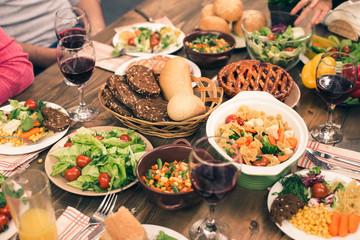Nice family having tasty dinner