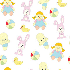 Seamless picture with children's toys for girls. A vector pattern with a doll, a baby doll, a hare and a ball on a white background.