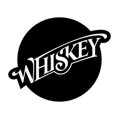 Circular Label Logo Sticker Whiskey Lettering Script Print Emblem Text