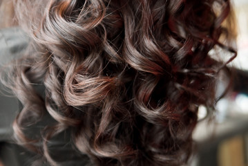 Curly hair, brunette. Wavy hairstyle