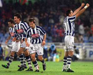 REAL SOCIEDAD'S PLAYERS CELEBRATE GOAL DURING THEIR FIRST DIVISIONMATCH.