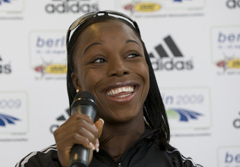 Jamaican athlete Campbell Brown speaks during a news conference in Berlin