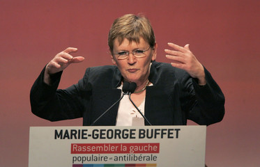 French Communist Party leader and presidential candidate Buffet delivers a speech during a campaign rally in Villeurbanne