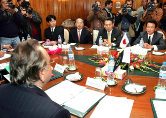 Pakistan FM Kasuri hold talks with his Japanese counterpart Aso in Islamabad