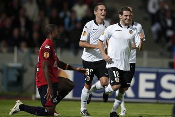 Valencia's Mata celebrates after scoring during UEFA Europa League Group B match against Lille in Villeneuve d'Ascq