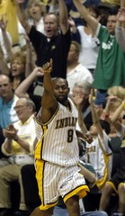 Pacers Johnson celebrates during game against Pistons.