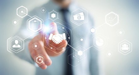 Businessman using digital presentation for partnership business 3D rendering