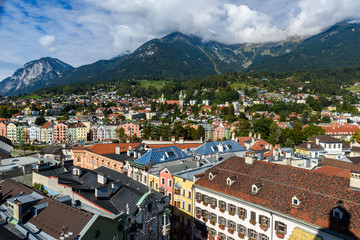 Beautiful view from tower in city center of Innsbruck, Austria