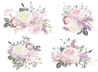 floral illustration - pink rose.  branch flower with leaves isolated on white background. Cute composition. Collection for wedding or greeting card. set bouquets.