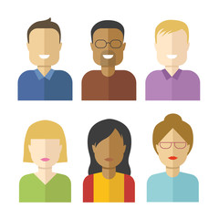 Set of flat vector avatars isolated on white background