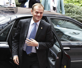 Poland's Prime Minister Tusk arrives at a European Union leaders emergency summit in Brussels
