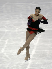 South Korea's Kim performs during women's short program of the World Figure Skating Championships in Tokyo