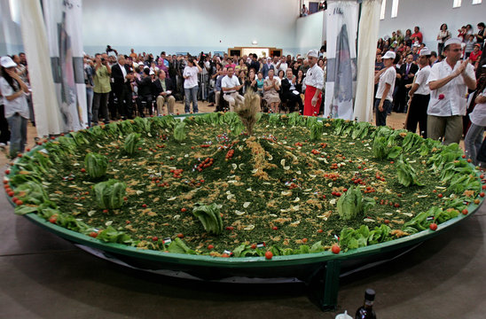Palestinians make the world's largest Tabouleh salad in Ramallah